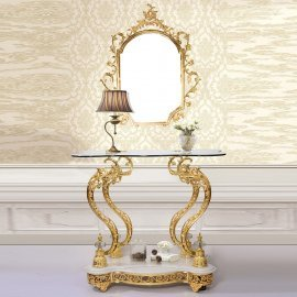 Traditional Console Table in Beige Metal,Glass Traditional Style Homey Design HD-263