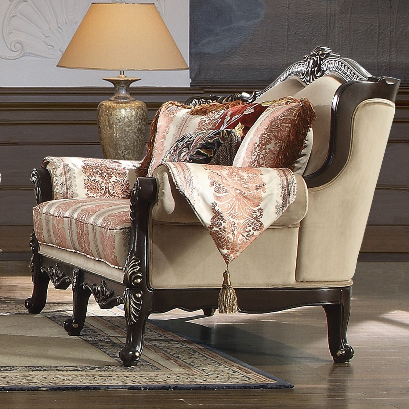 Traditional Loveseat in Brown Fabric Traditional Style Homey Design HD-2638