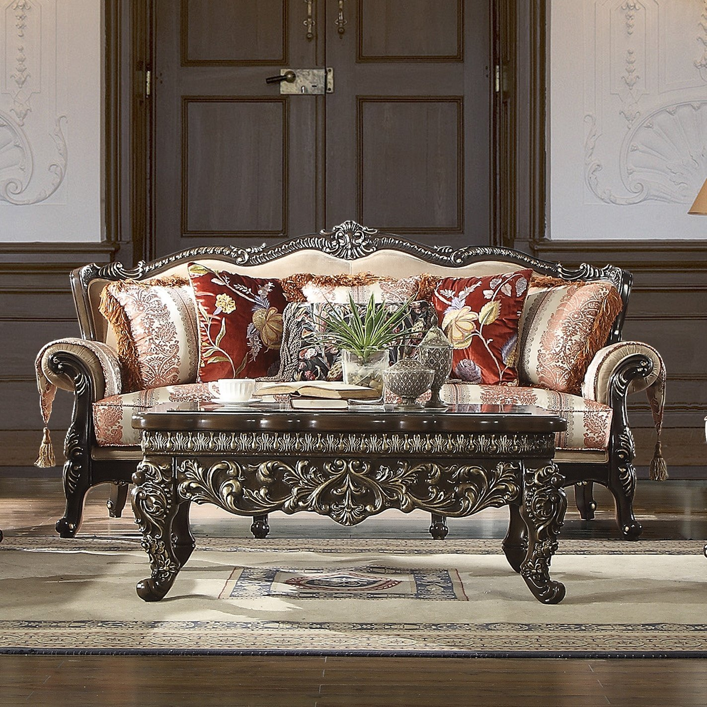 Traditional Sofa in Brown Fabric Traditional Style Homey Design HD-2638