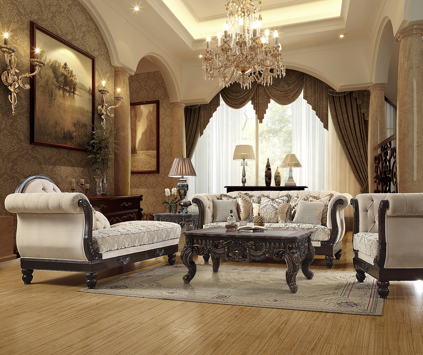 Traditional Living Room Set 3 PCS in Brown Fabric Traditional Style Homey Design HD-2651