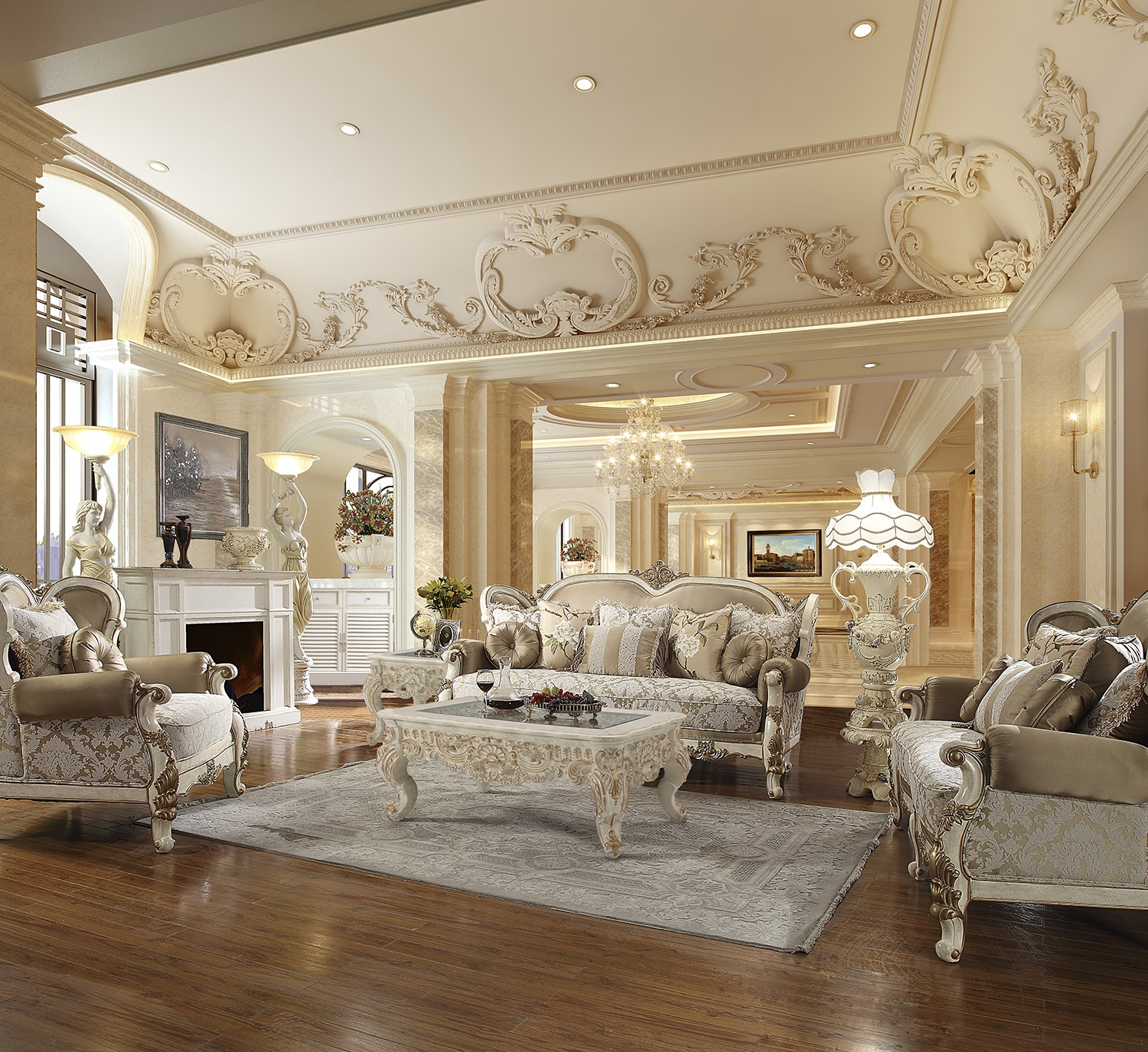 Traditional Living Room Set 3 PCS in White Fabric Traditional Style Homey Design HD-2652