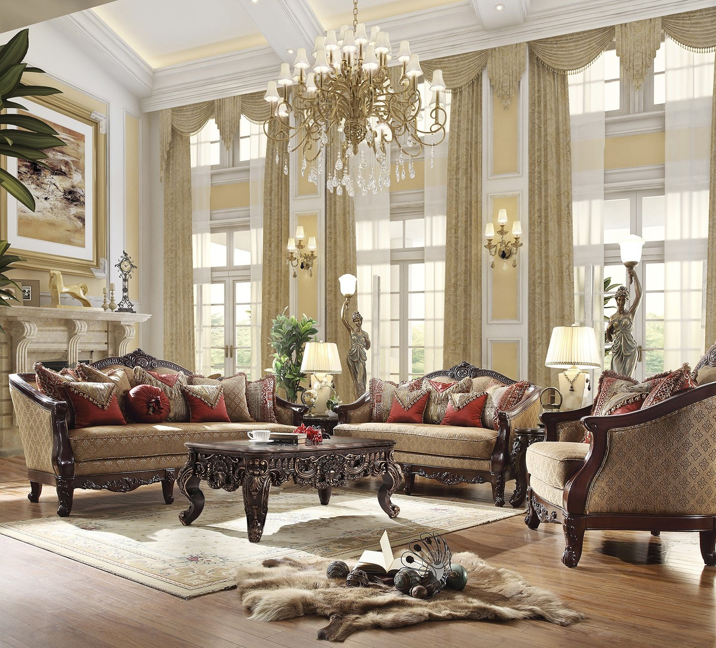 Traditional Living Room Set 3 PCS in Brown Fabric Traditional Style Homey Design HD-2655