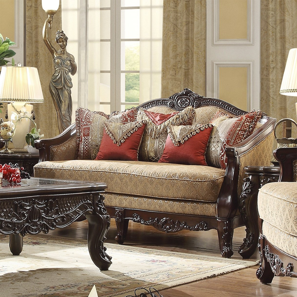 Traditional Loveseat in Brown Fabric Traditional Style Homey Design HD-2655