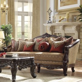 Traditional Sofa in Brown Fabric Traditional Style Homey Design HD-2655