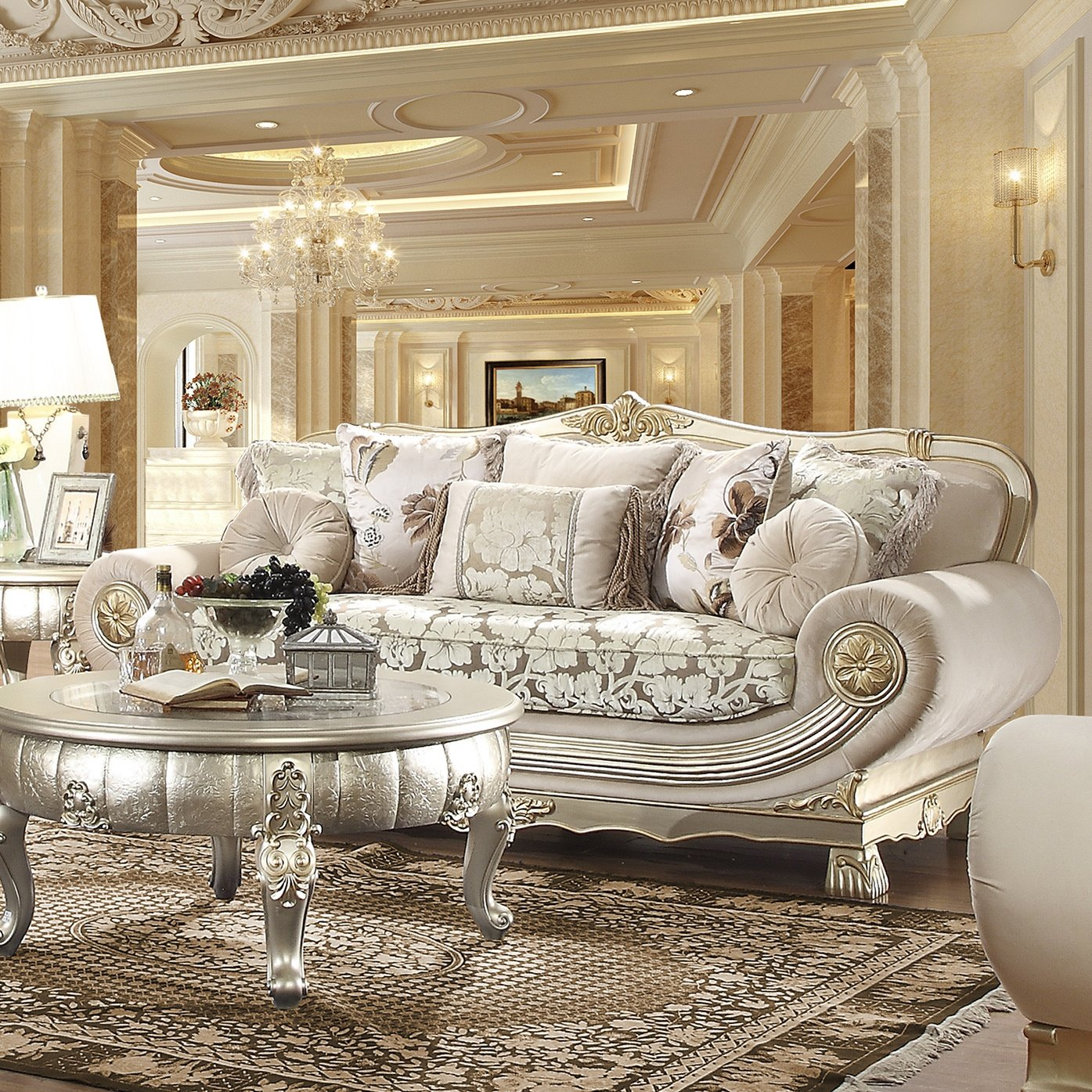 Traditional Sofa in Gray Fabric Traditional Style Homey Design HD-2656