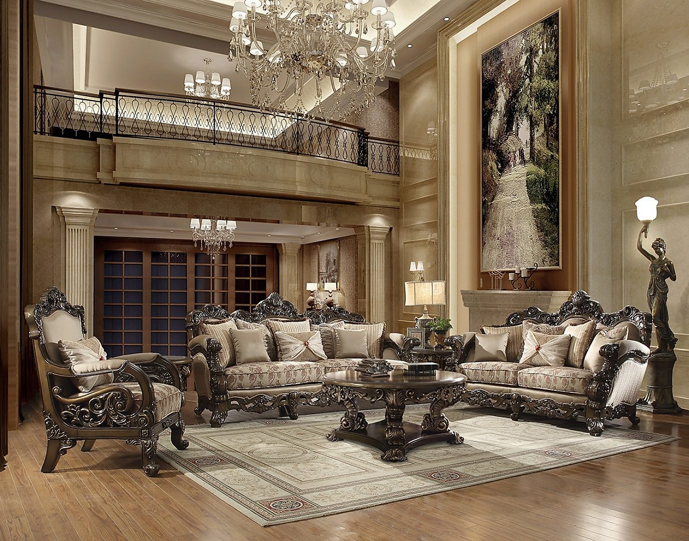 Traditional Living Room Set 3 PCS in Brown Fabric Traditional Style Homey Design HD-2658