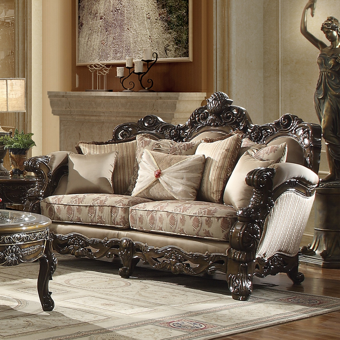 Traditional Loveseat in Brown Fabric Traditional Style Homey Design HD-2658
