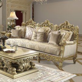 Traditional Sofa in Yellow Fabric Traditional Style Homey Design HD-2659