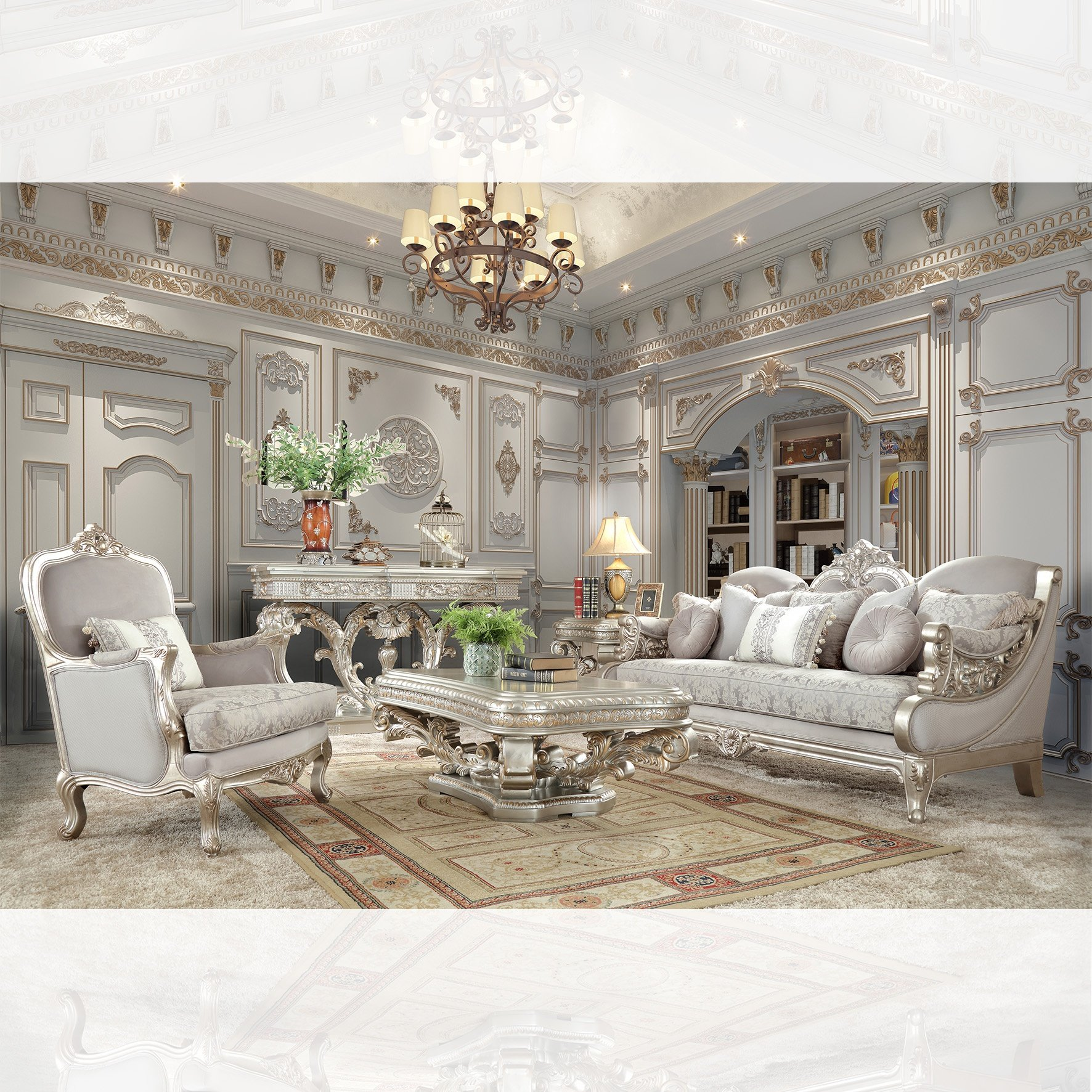 Traditional Living Room Set 3 PCS in Gray Fabric Traditional Style Homey Design HD-2662