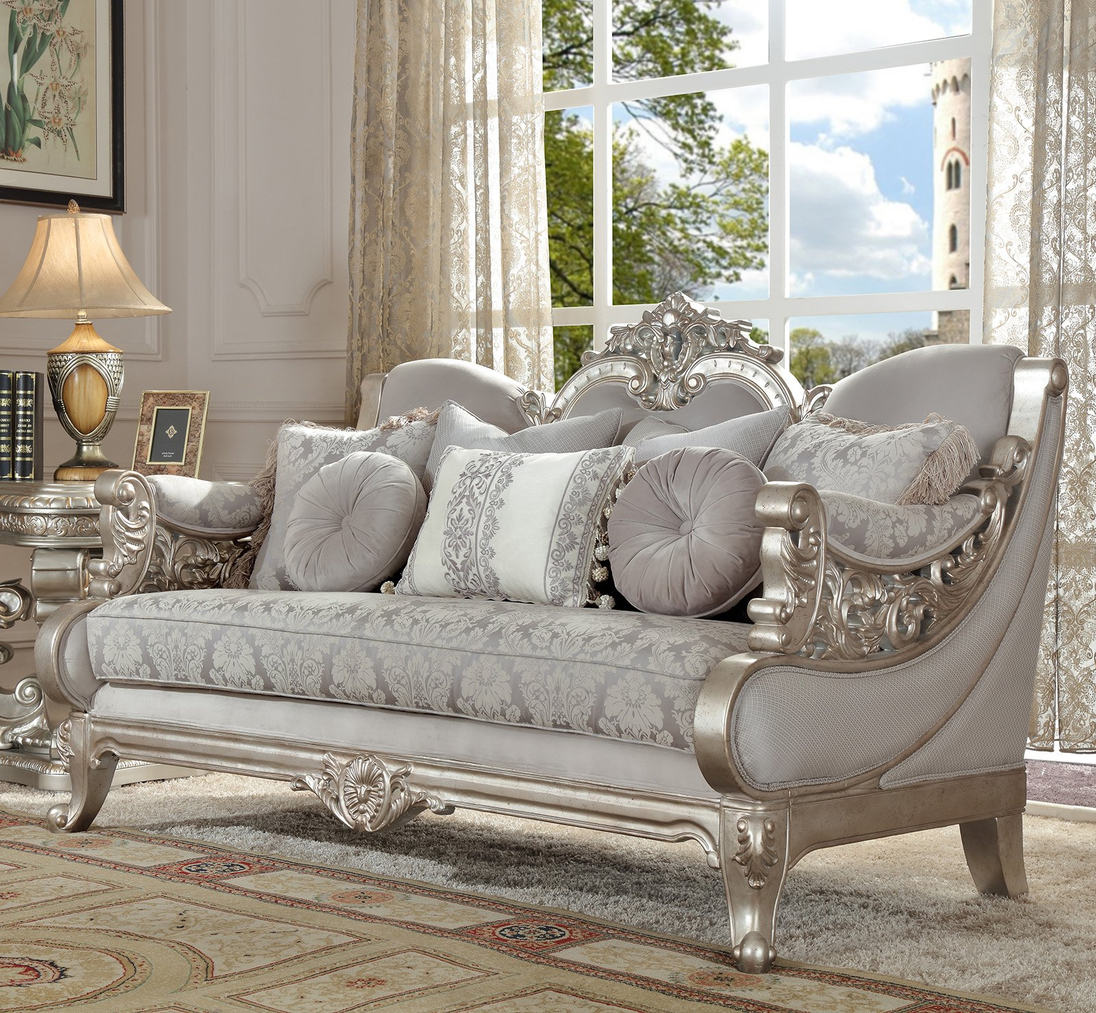 Traditional Loveseat in Gray Fabric Traditional Style Homey Design HD-2662
