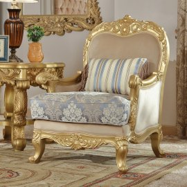 Traditional Chair in Yellow Fabric Traditional Style Homey Design HD-2666