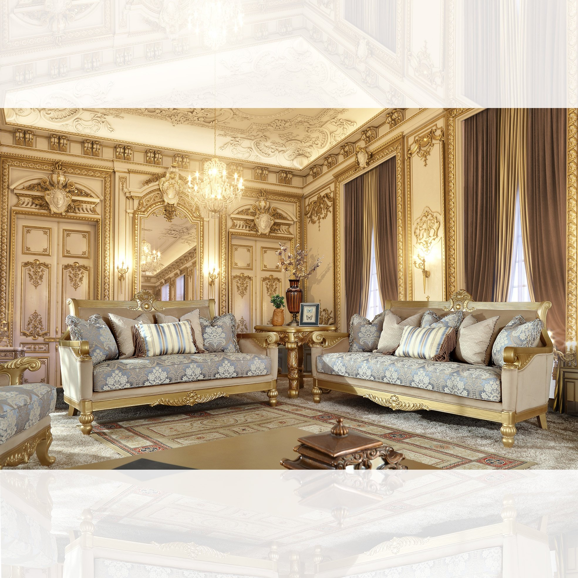 Traditional Living Room Set 3 PCS in Yellow Fabric Traditional Style Homey Design HD-2666