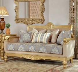 Traditional Loveseat in Yellow Fabric Traditional Style Homey Design HD-2666