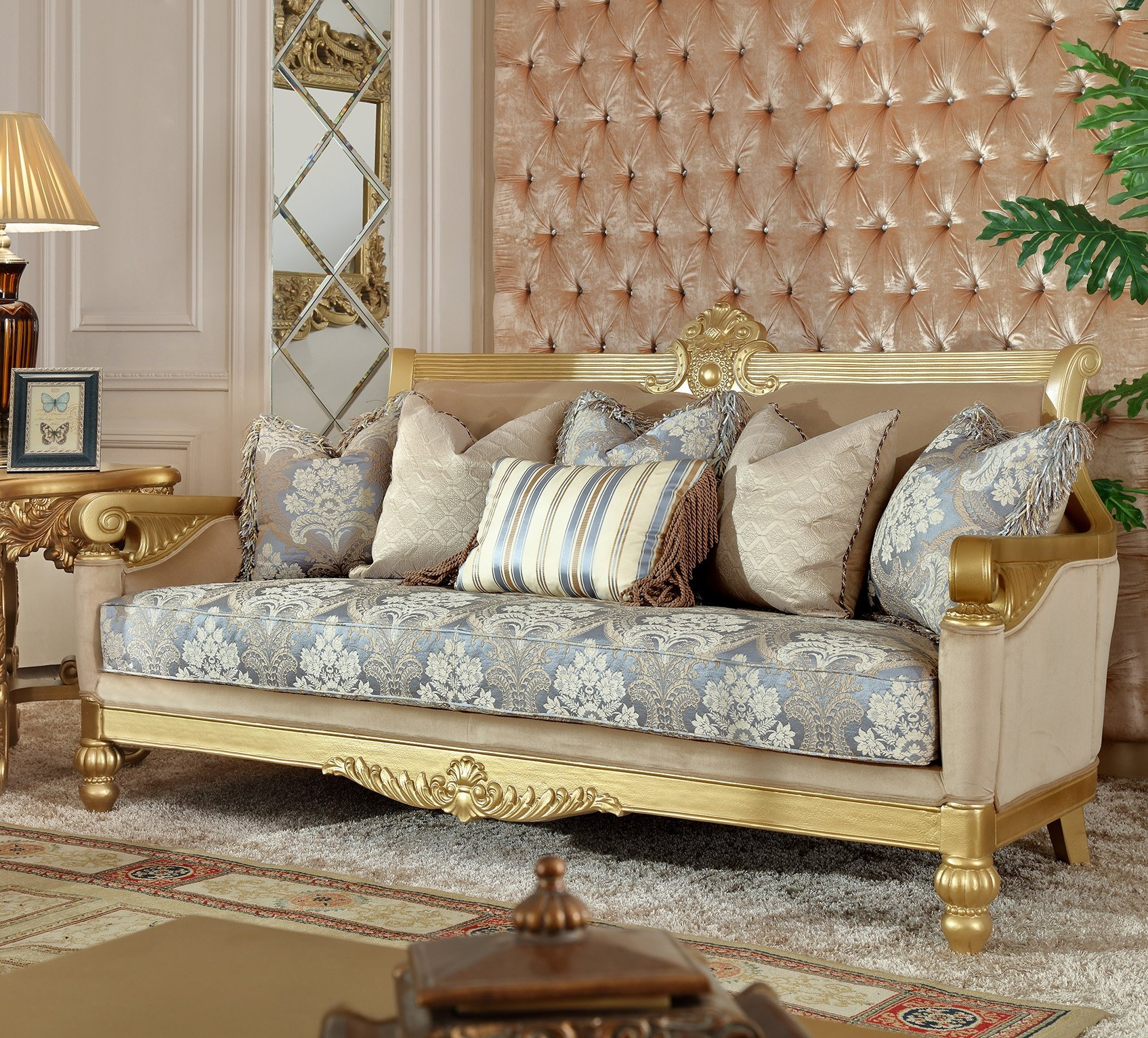 Traditional Sofa in Yellow Fabric Traditional Style Homey Design HD-2666