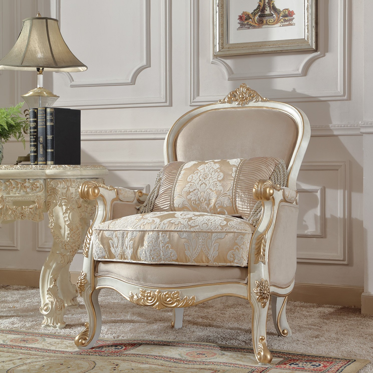 Traditional Chair in White Fabric Traditional Style Homey Design HD-2669