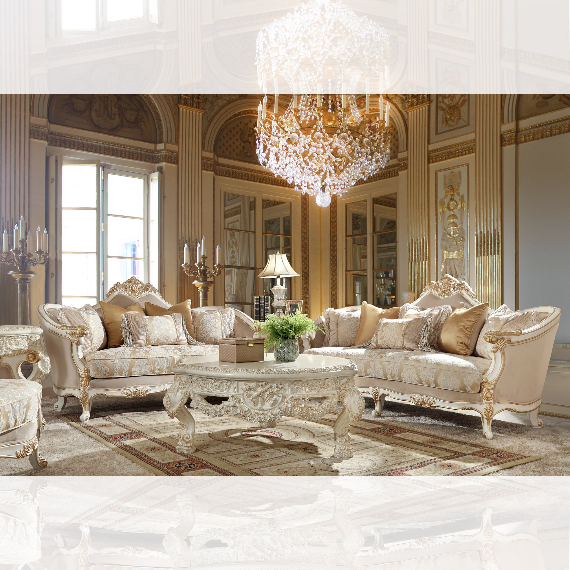 Traditional Living Room Set 3 PCS in White Fabric Traditional Style Homey Design HD-2669