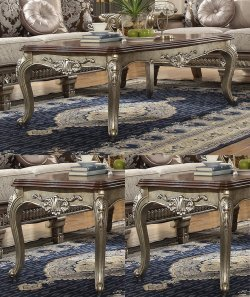 Traditional Coffee Table Set 3 PCS in Brown Wood Traditional Style Homey Design HD-303
