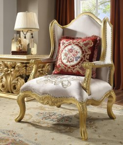 Traditional Chair in Yellow Fabric Traditional Style Homey Design HD-31