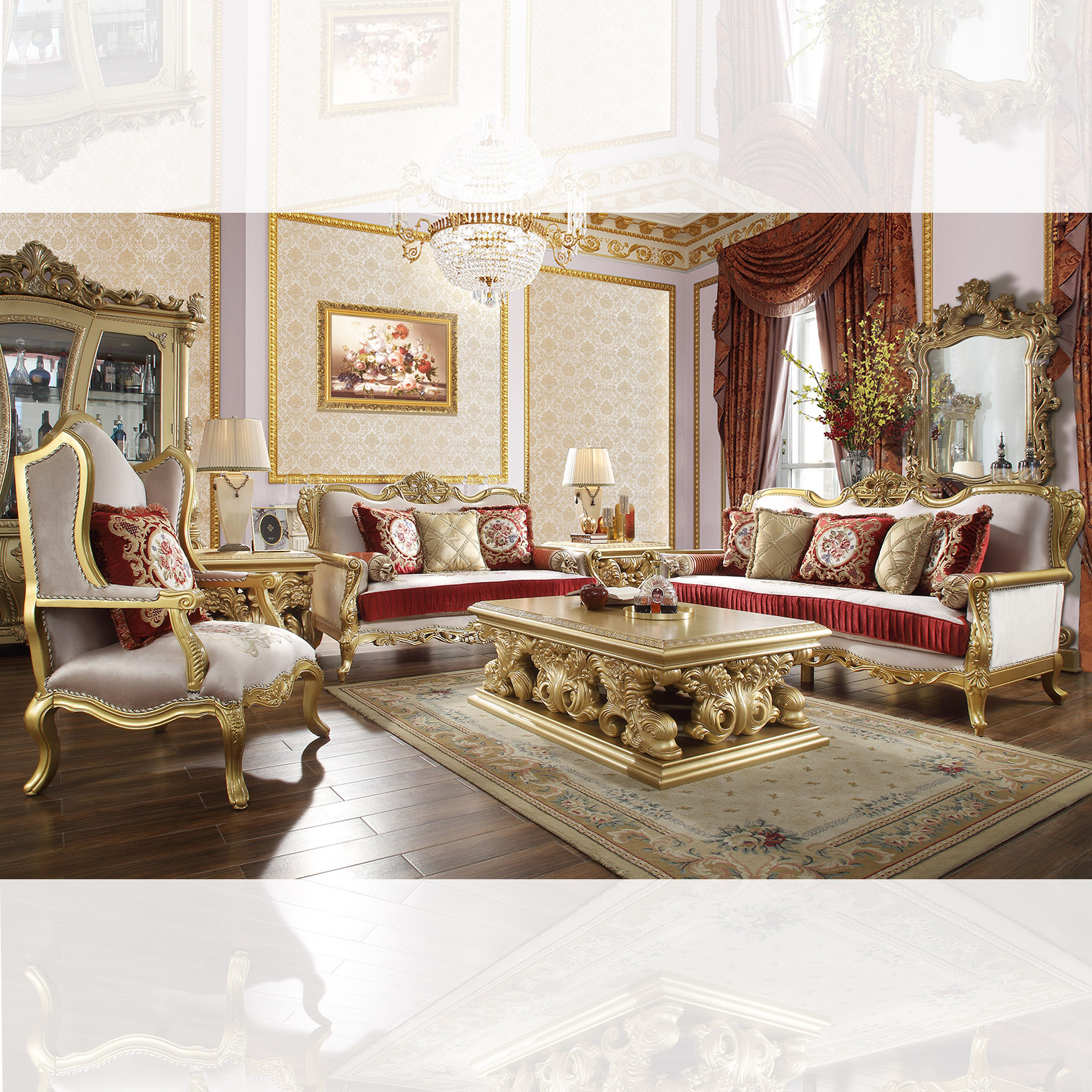 Traditional Living Room Set 3 PCS in Yellow Fabric Traditional Style Homey Design HD-31