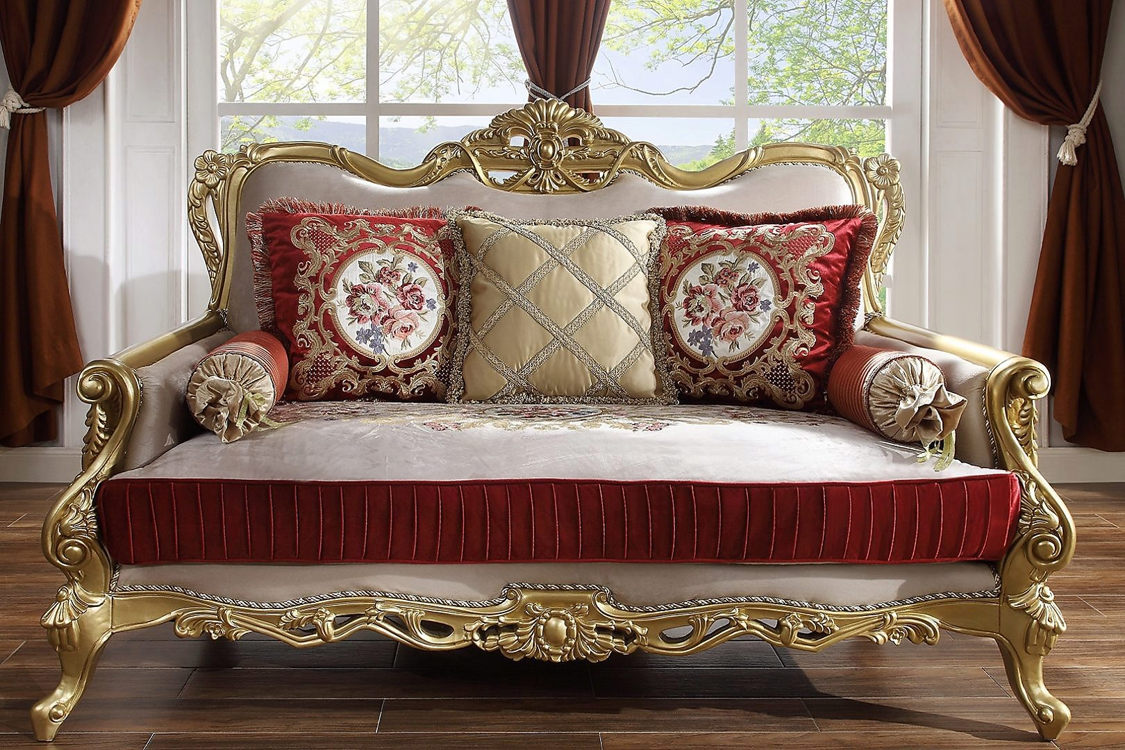 Traditional Loveseat in Yellow Fabric Traditional Style Homey Design HD-31