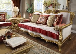 Traditional Sofa in Yellow Fabric Traditional Style Homey Design HD-31