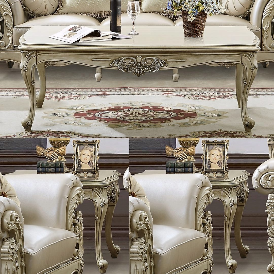 Traditional Coffee Table Set 3 PCS in White Wood Traditional Style Homey Design HD-32
