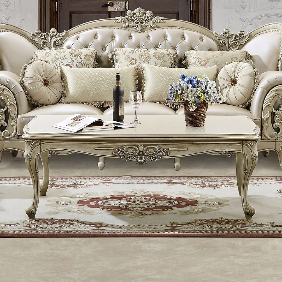 Traditional Coffee Table Set in White Wood Traditional Style Homey Design HD-32