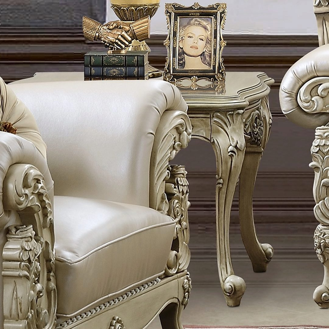 Traditional End Table in White Wood Traditional Style Homey Design HD-32