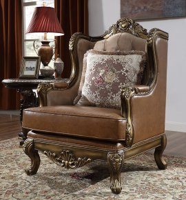 Traditional Chair in Brown Leather Traditional Style Homey Design HD-555