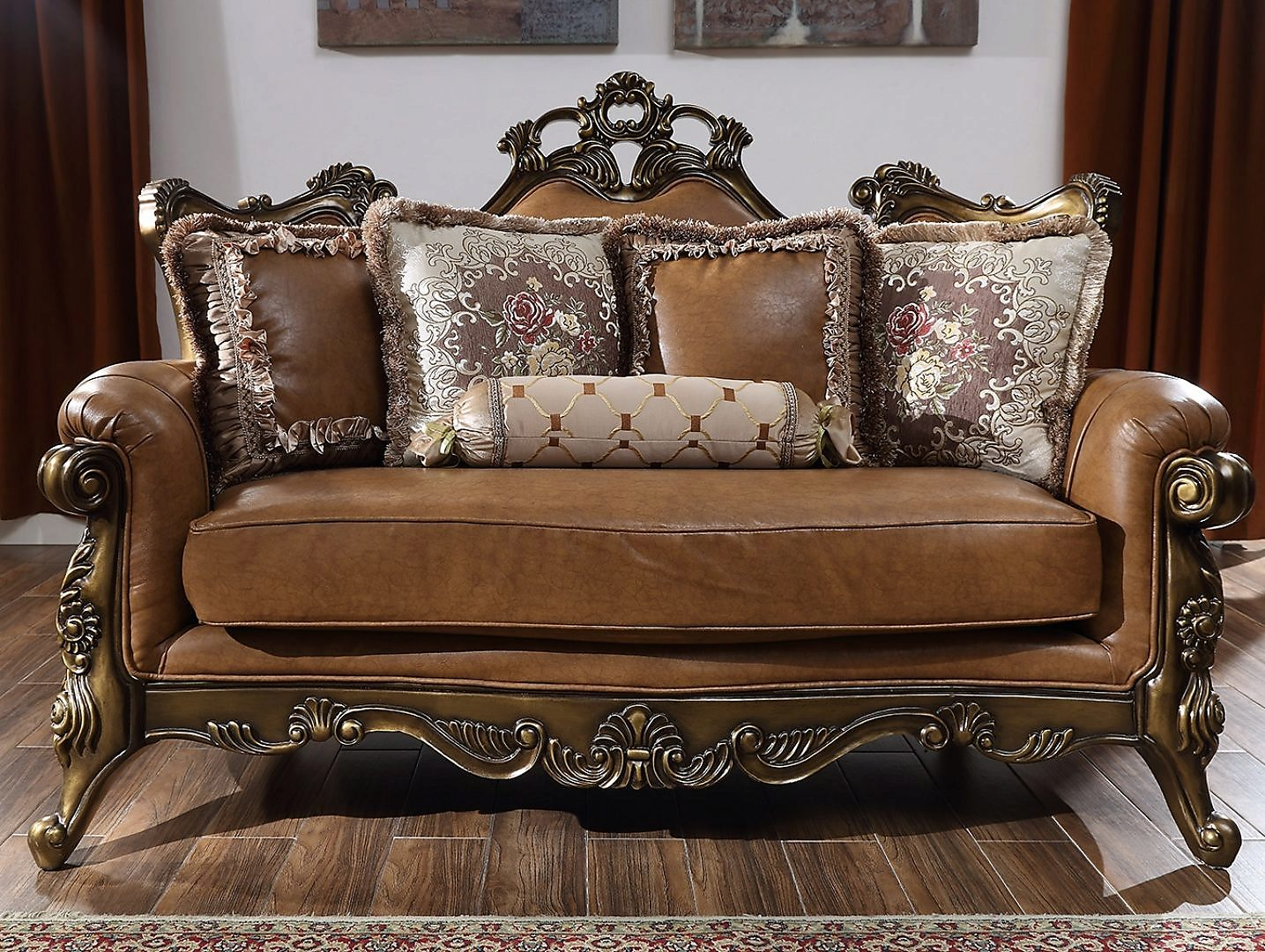 Traditional Loveseat in Brown Leather Traditional Style Homey Design HD-555