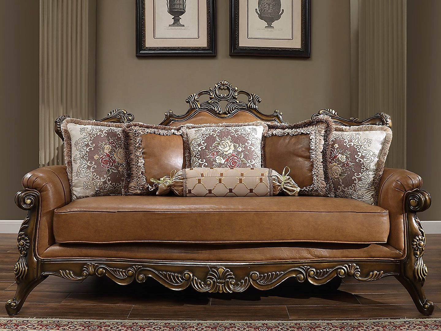 Traditional Sofa in Brown Leather Traditional Style Homey Design HD-555