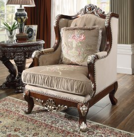 Traditional Chair in Brown Fabric Traditional Style Homey Design HD-562