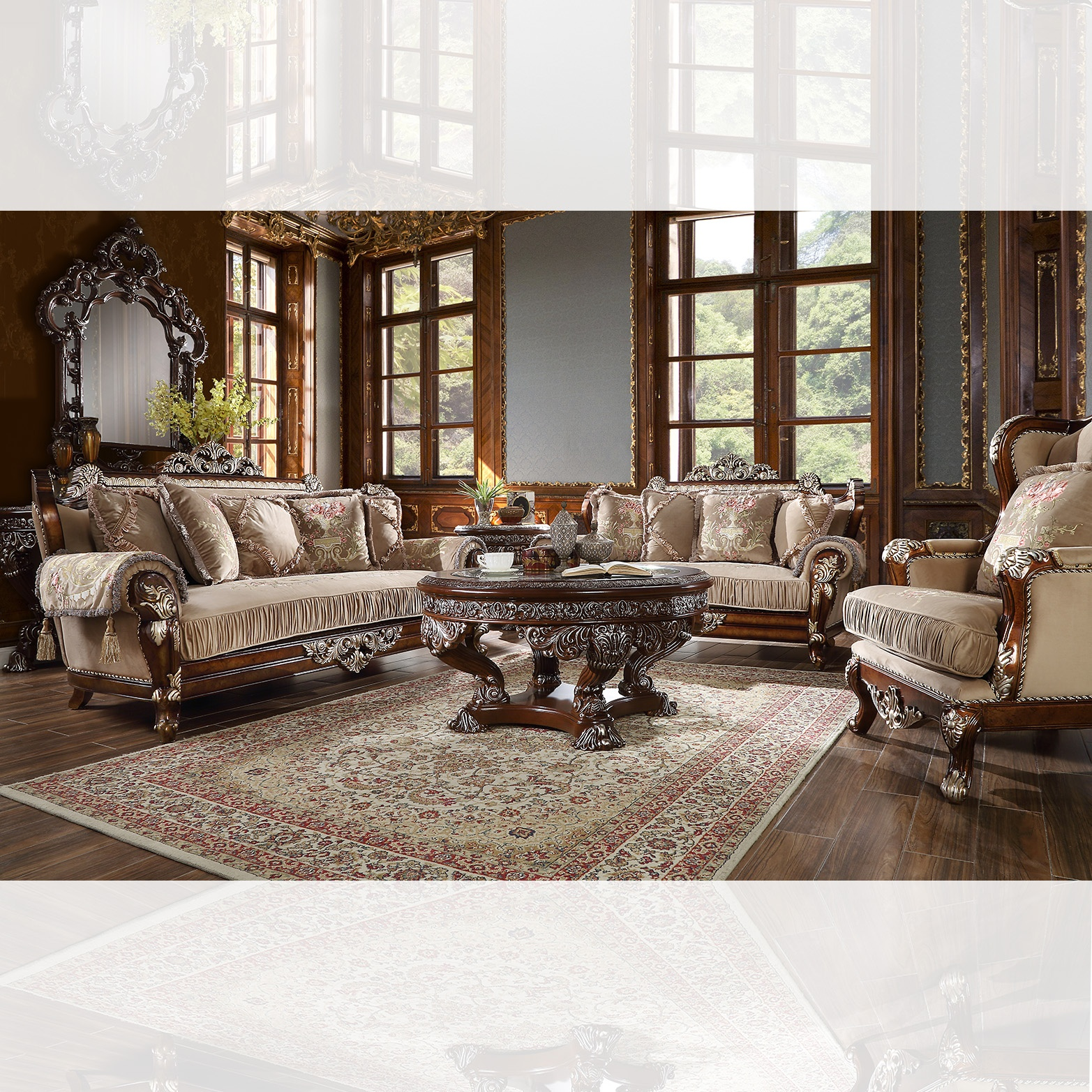 Traditional Living Room Set 3 PCS in Brown Fabric Traditional Style Homey Design HD-562