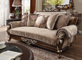 Traditional Sofa in Brown Fabric Traditional Style Homey Design HD-562