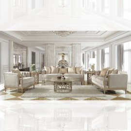 Traditional Living Room Set 3 PCS in Beige Fabric Traditional Style Homey Design HD-625
