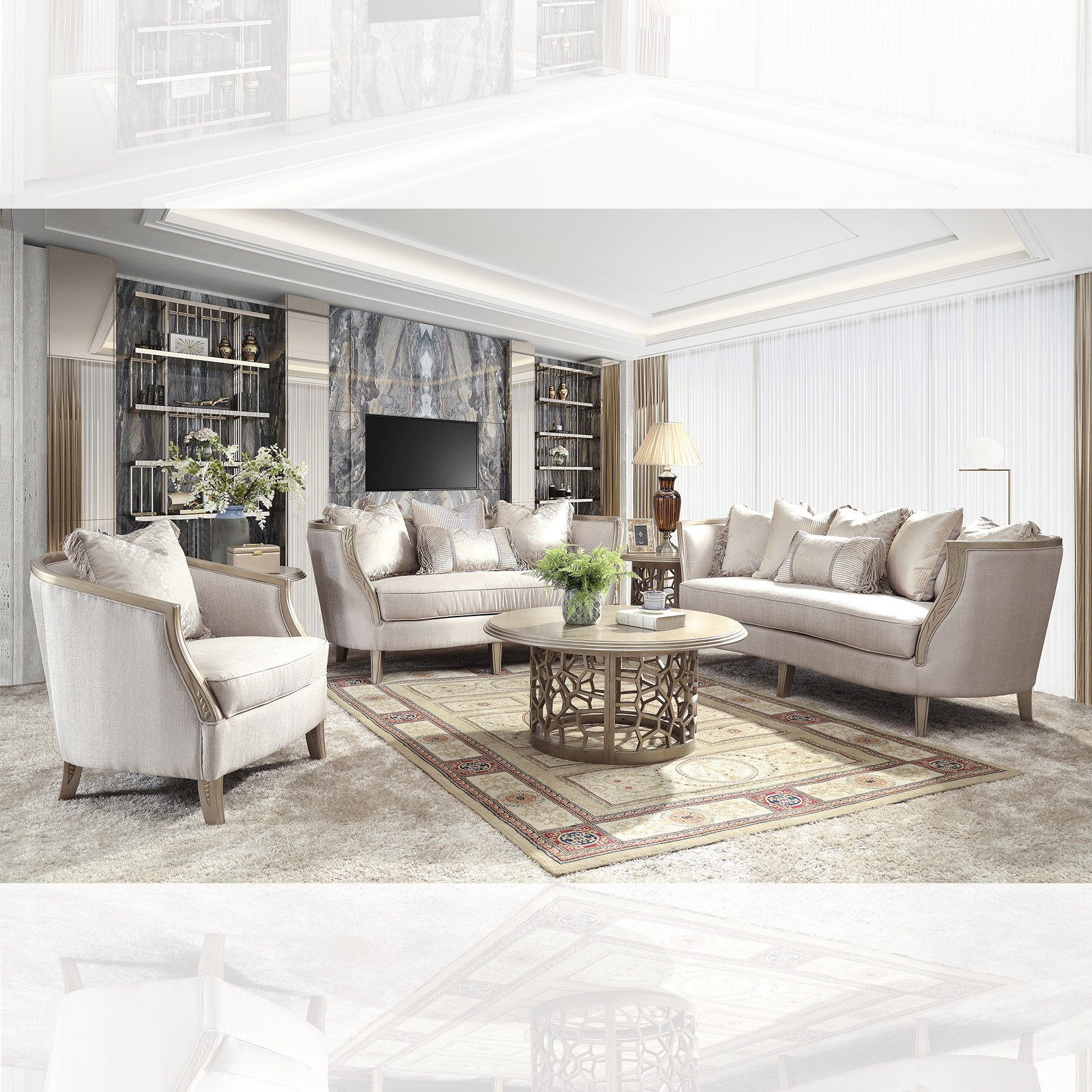 Traditional Living Room Set 3 PCS in Beige Fabric Traditional Style Homey Design HD-632
