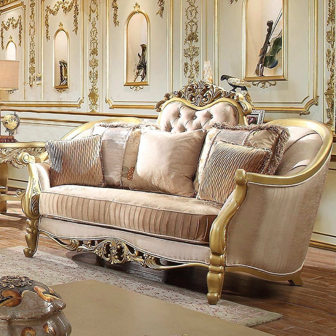 Traditional Loveseat in Green Fabric Traditional Style Homey Design HD-663