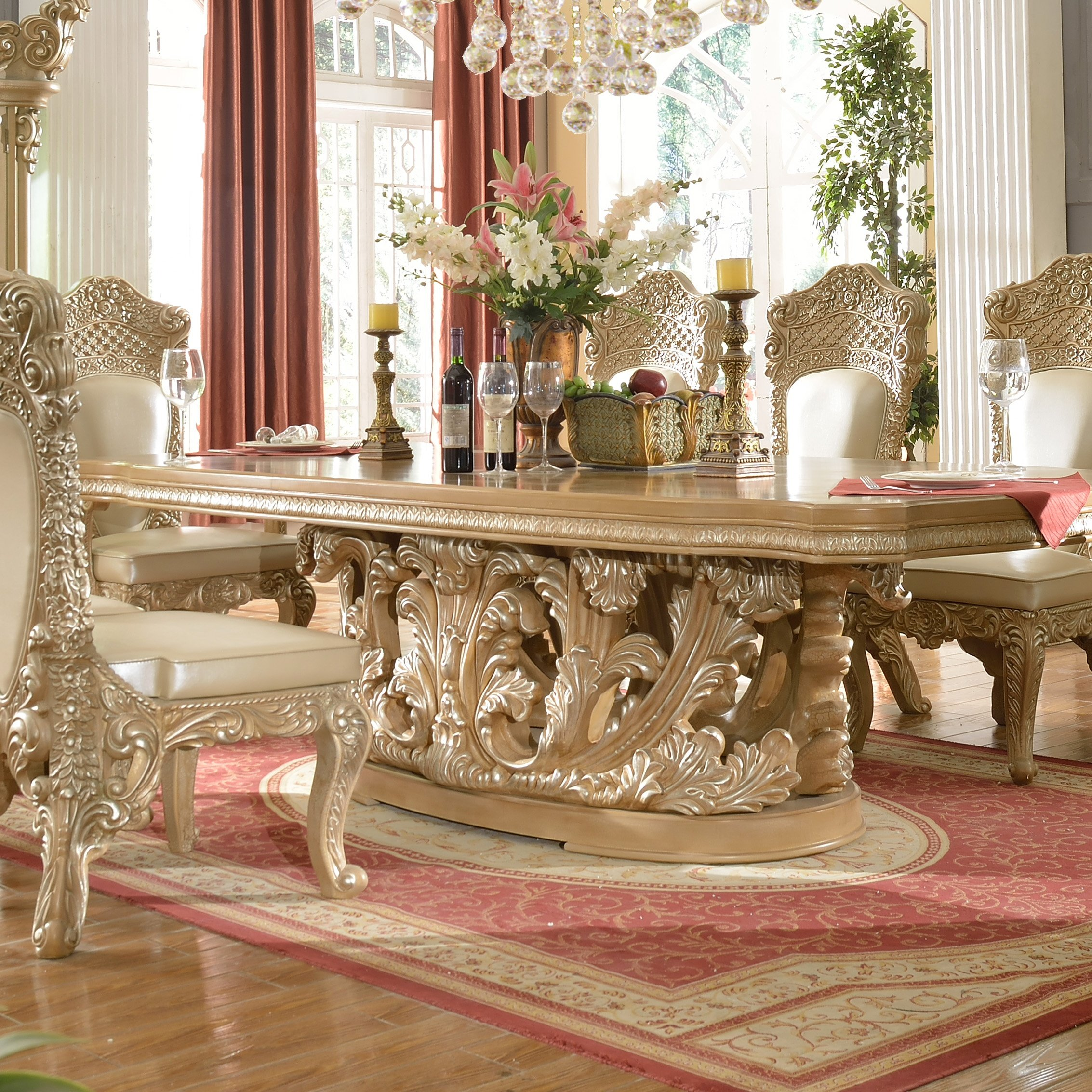 Traditional Rectangle Table in Gray Wood Traditional Style Homey Design HD-7012