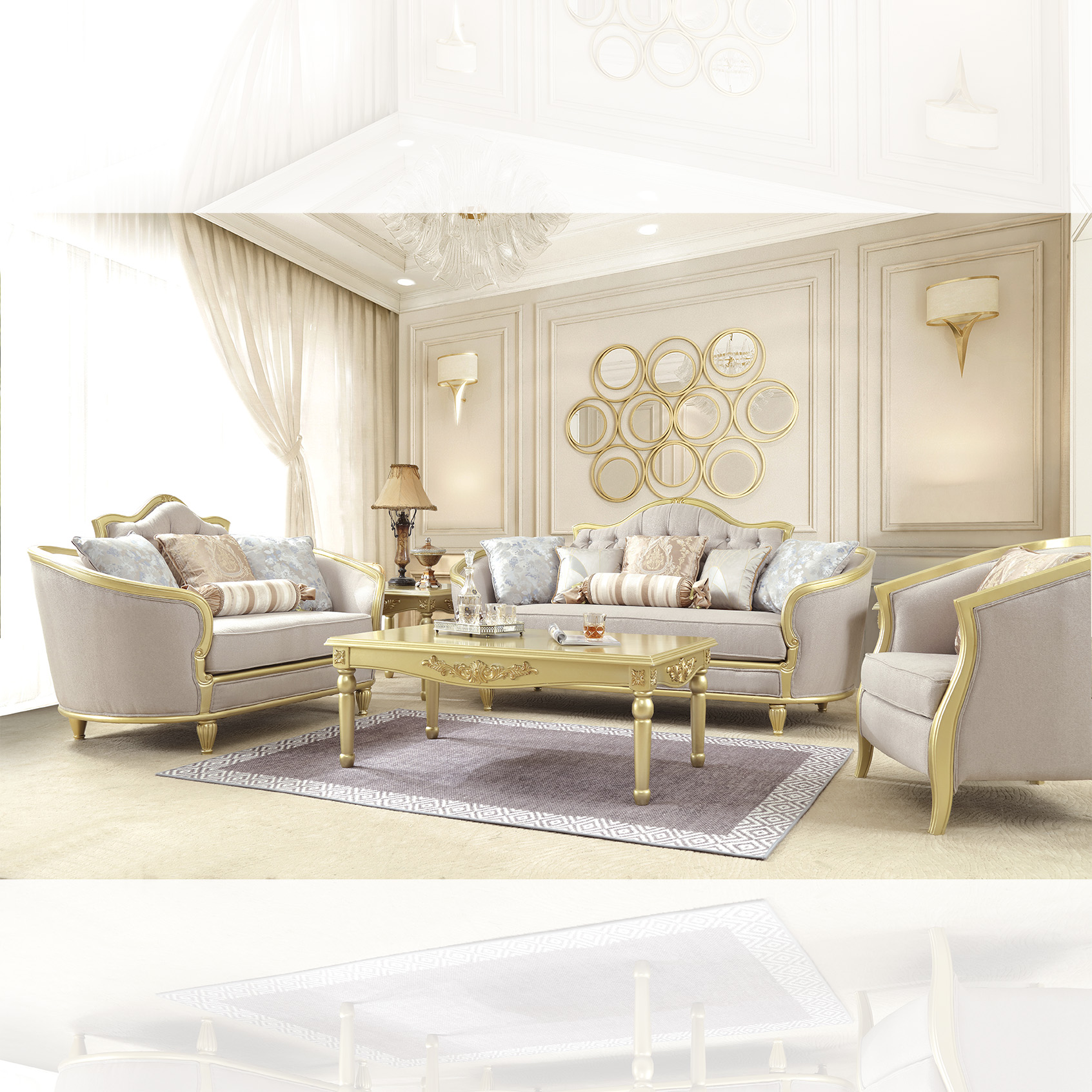 Traditional Living Room Set 3 PCS in Yellow Fabric Traditional Style Homey Design HD-710