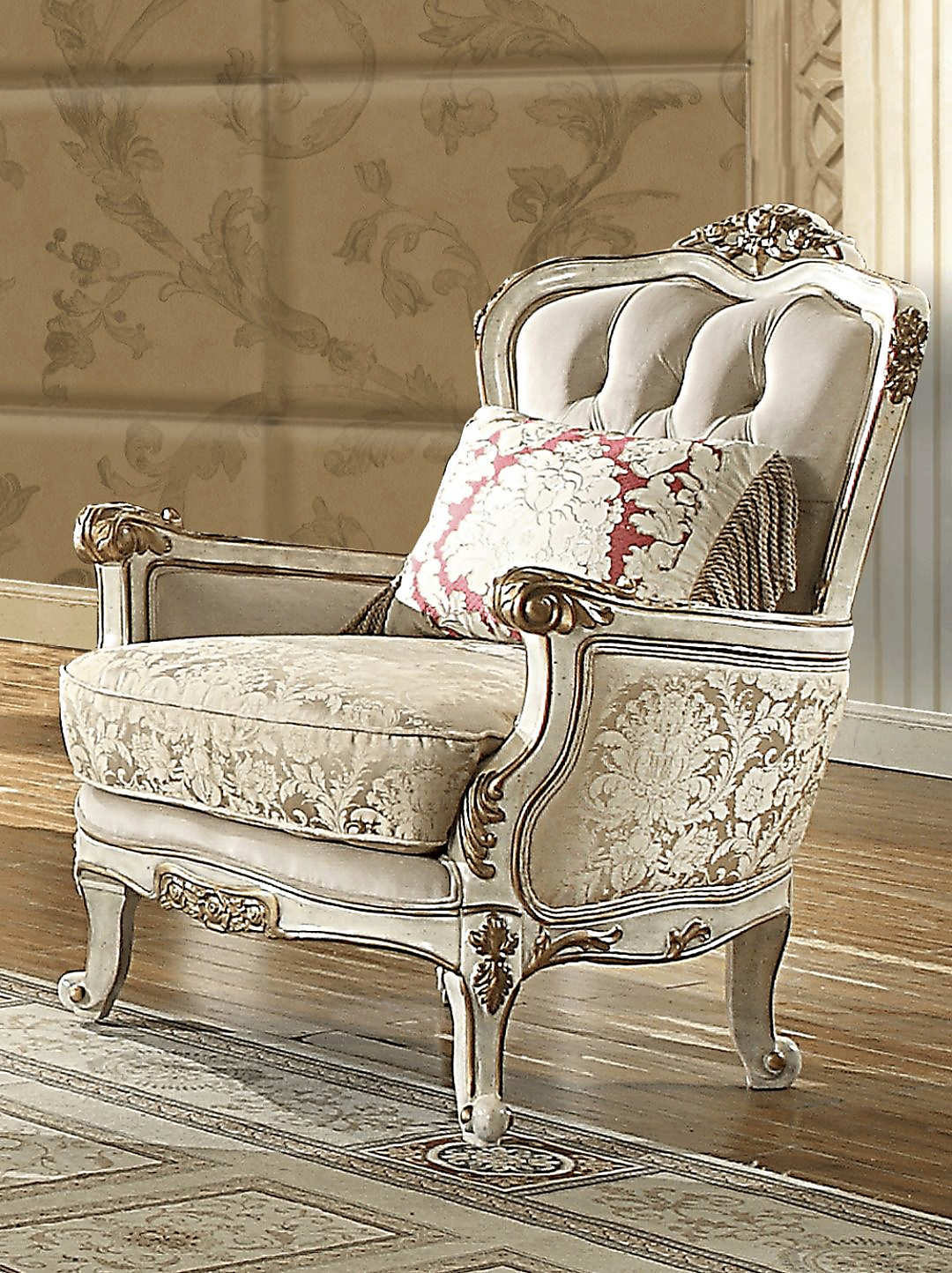 Traditional Chair in Beige Fabric Traditional Style Homey Design HD-7310