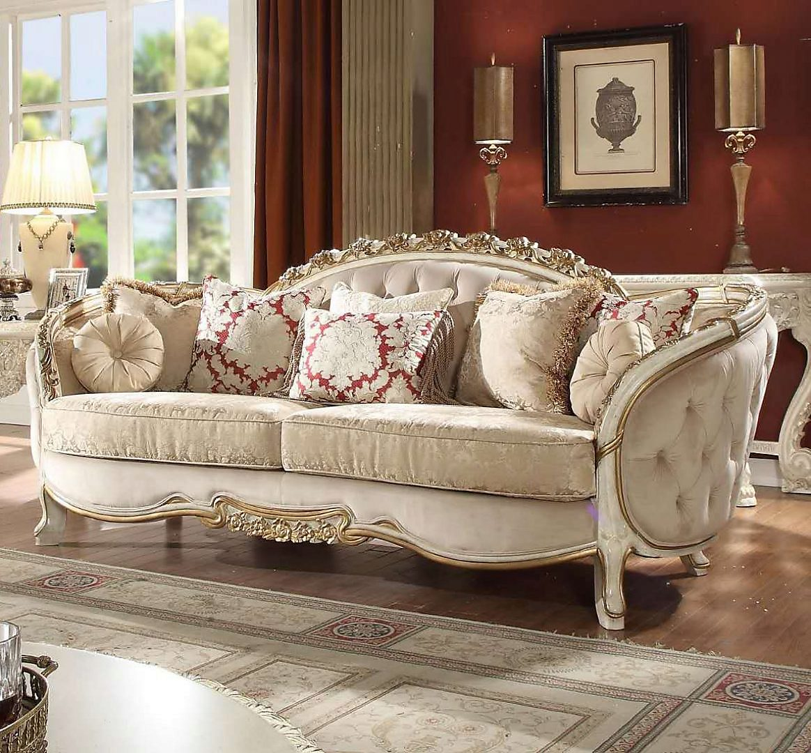 Traditional Sofa in Beige Fabric Traditional Style Homey Design HD-7310