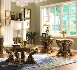 Traditional Coffee Table Set 3 PCS in Brown Wood Traditional Style Homey Design HD-8008