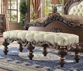 Traditional Bench in Brown Leather Traditional Style Homey Design HD-8013