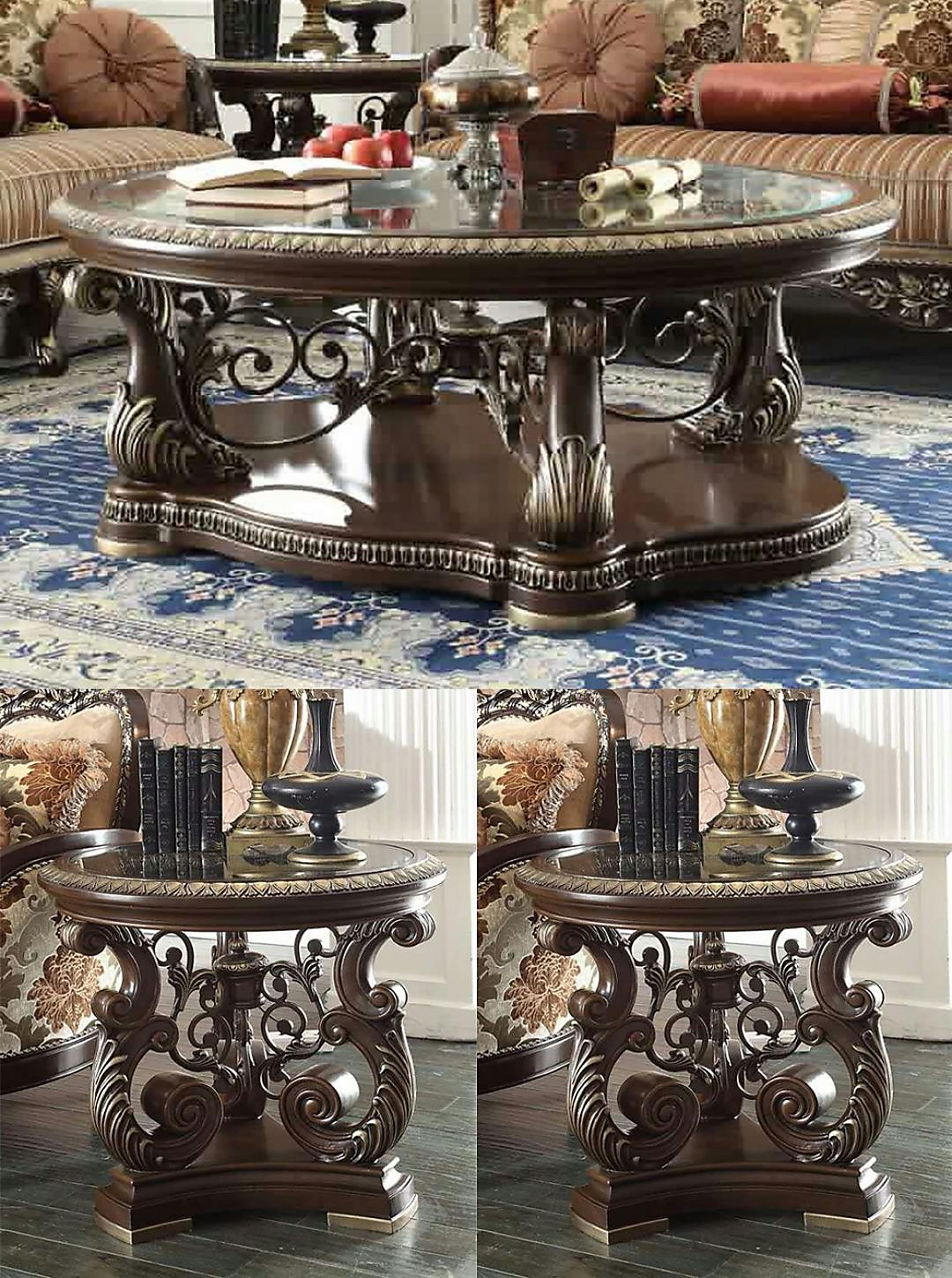 Traditional Coffee Table Set 3 PCS in Brown Wood Traditional Style Homey Design HD-8013
