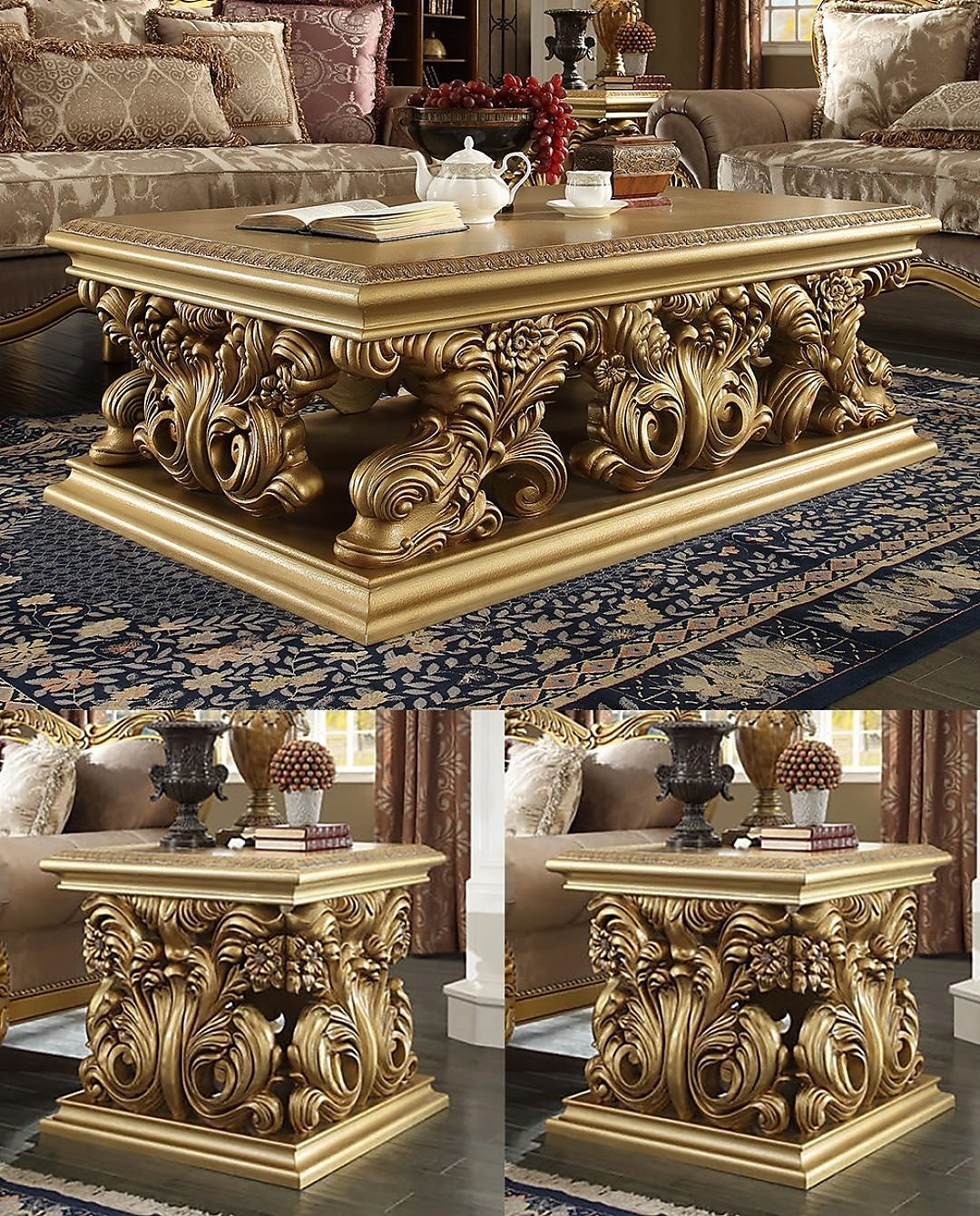 Traditional Coffee Table Set 3 PCS in Yellow Wood Traditional Style Homey Design HD-8016