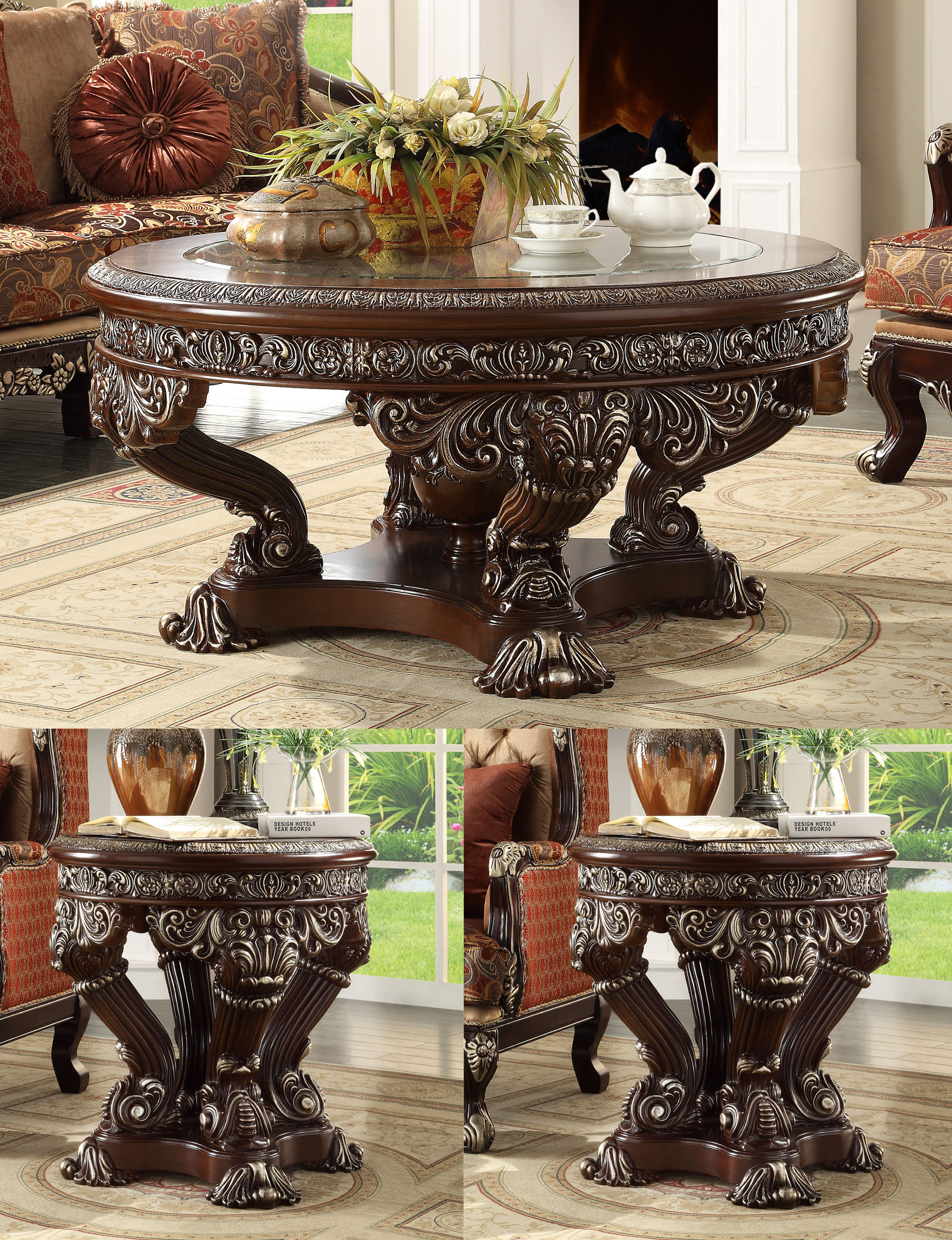 Traditional Coffee Table Set 3 PCS in Gray Wood Traditional Style Homey Design HD-8017