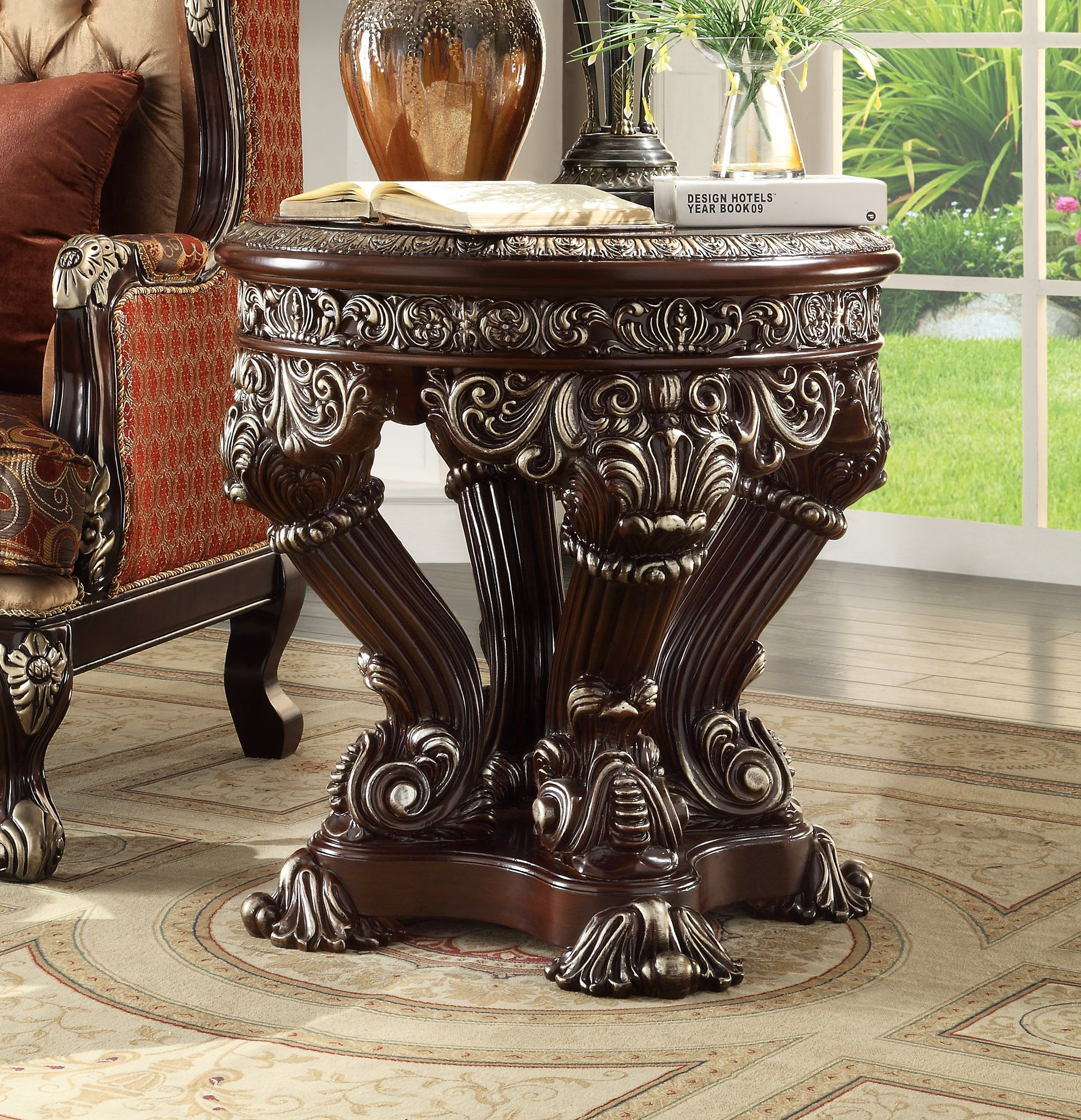 Traditional End Table in Gray Wood Traditional Style Homey Design HD-8017
