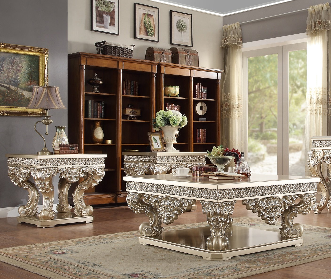 Traditional Coffee Table Set 3 PCS in Gray Wood Traditional Style Homey Design HD-8022