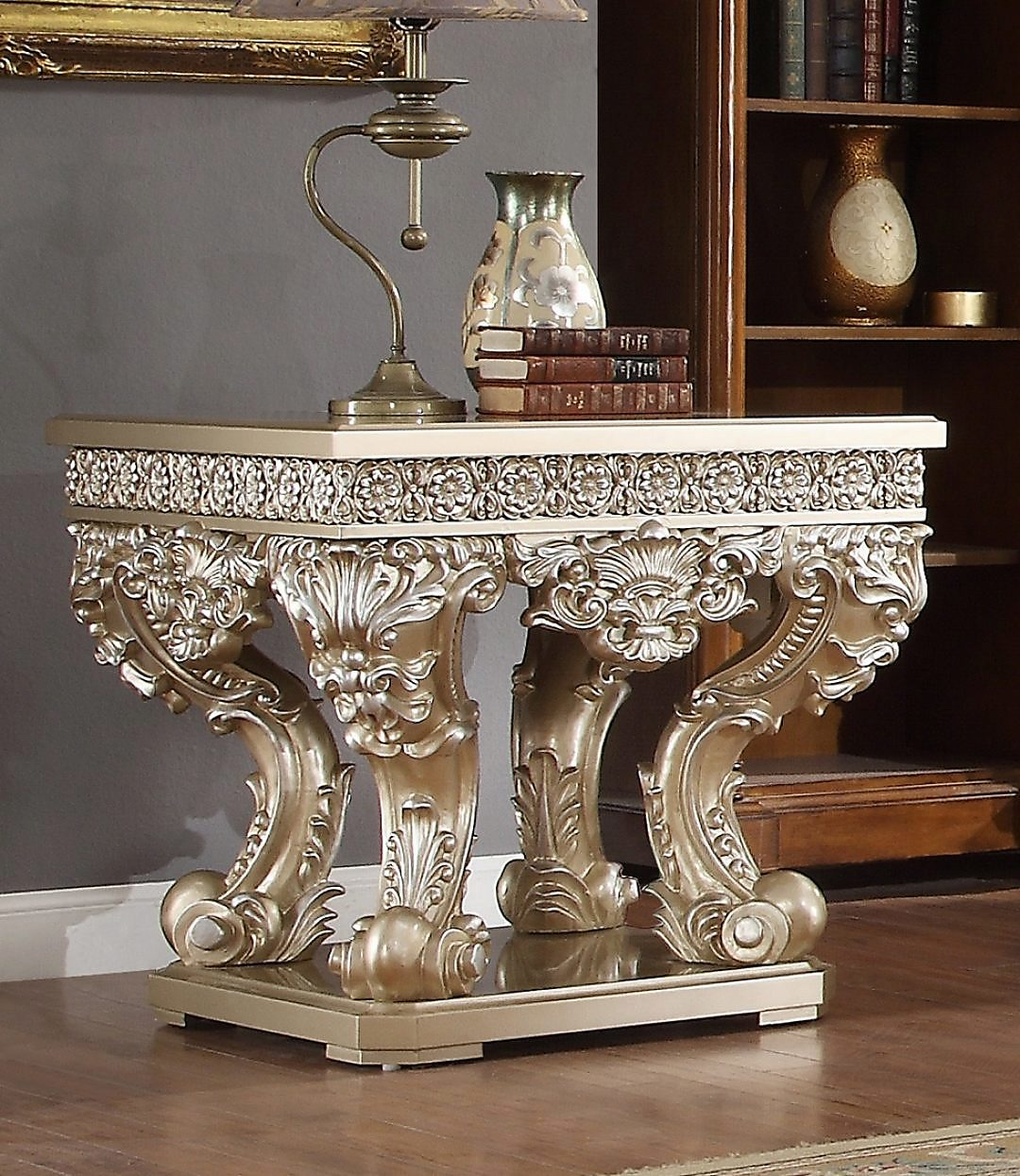 Traditional End Table in Gray Wood Traditional Style Homey Design HD-8022