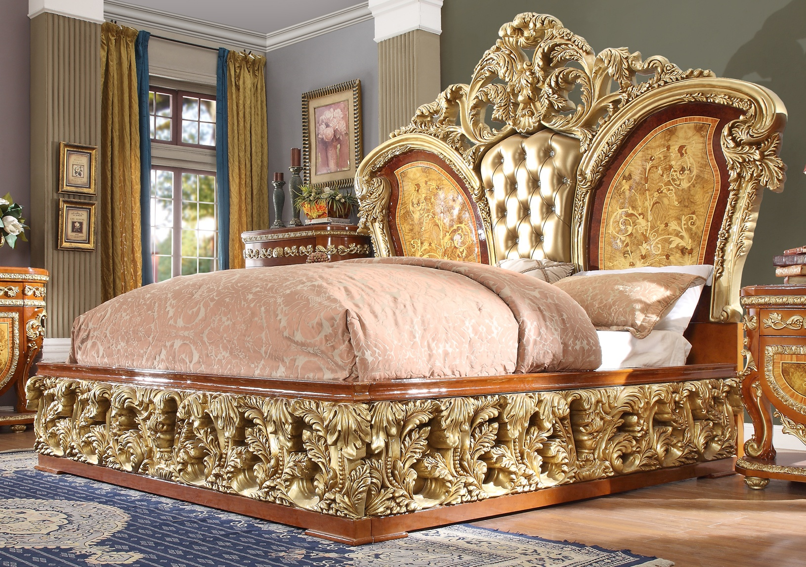 Traditional California King Bed in Beige Leather Traditional Style Homey Design HD-8024